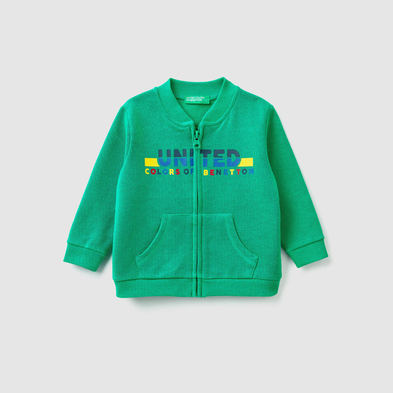 Zip-up sweatshirt with logo print