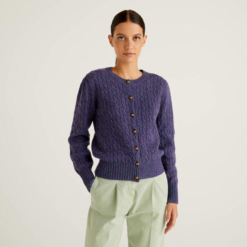Cable knit cardigan in pure Shetland wool