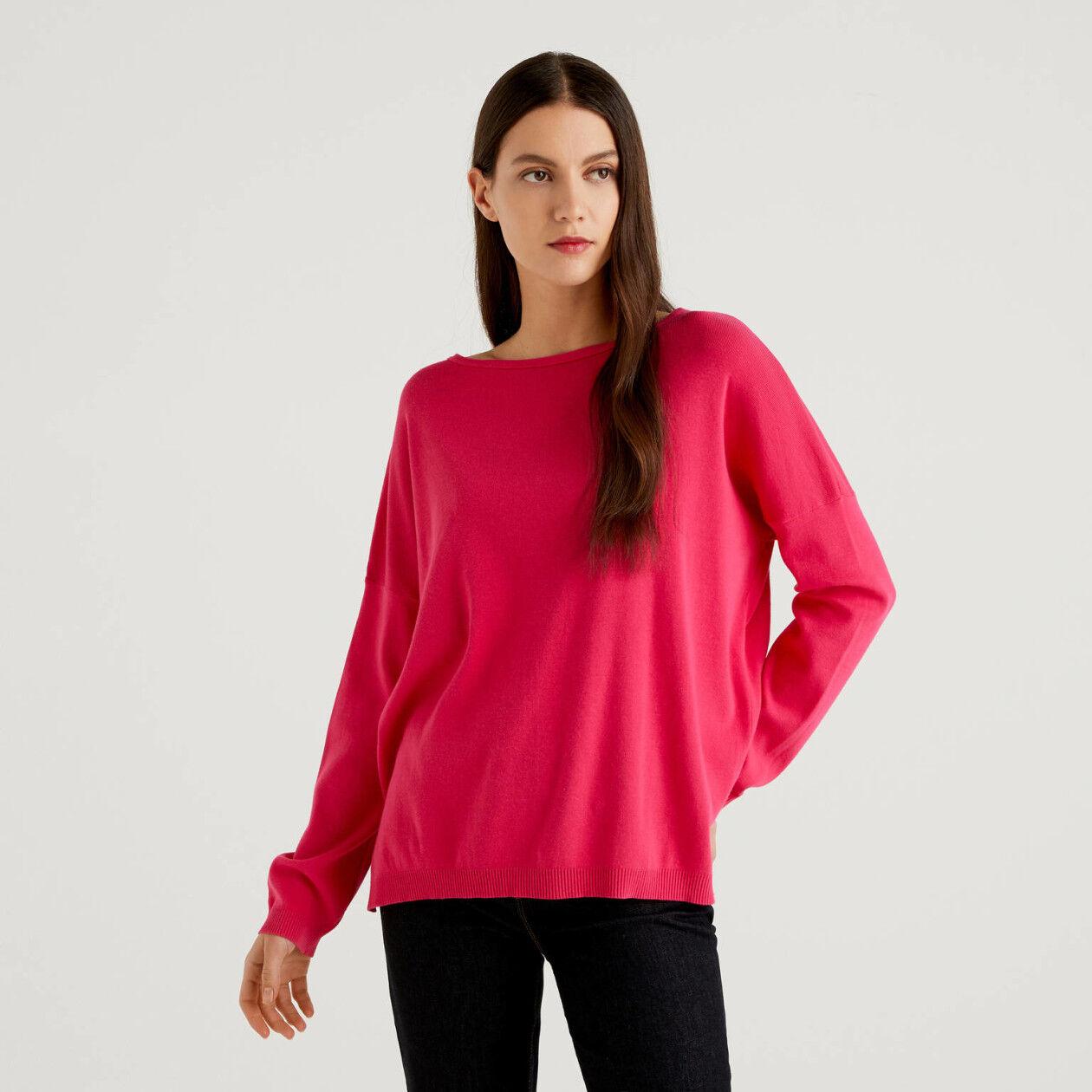 Round neck sweater in cotton
