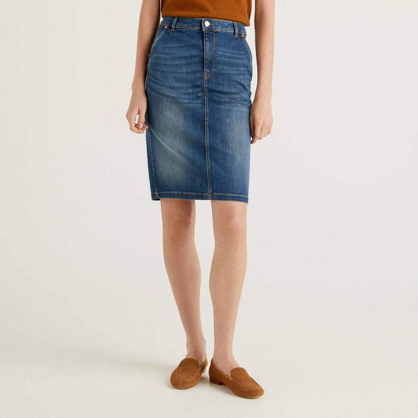 Stretch denim pencil skirt