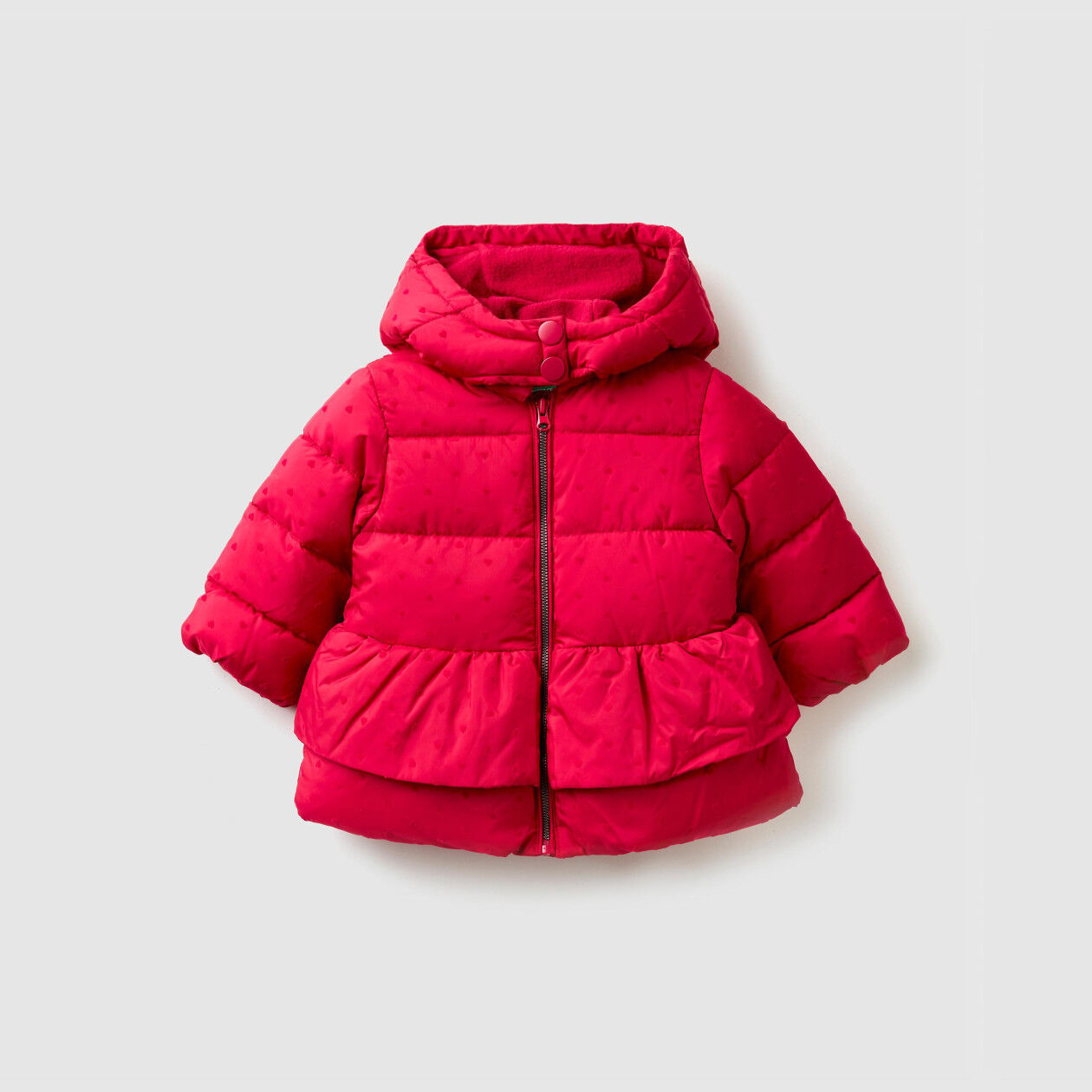 Jacket with heart print and hood