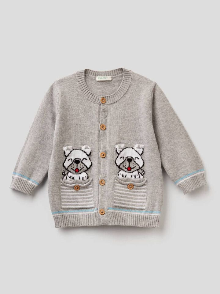 100% cotton cardigan with inlay