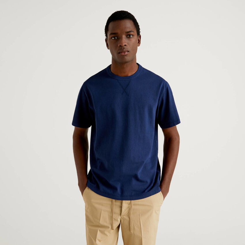Crew neck t-shirt in pure cotton
