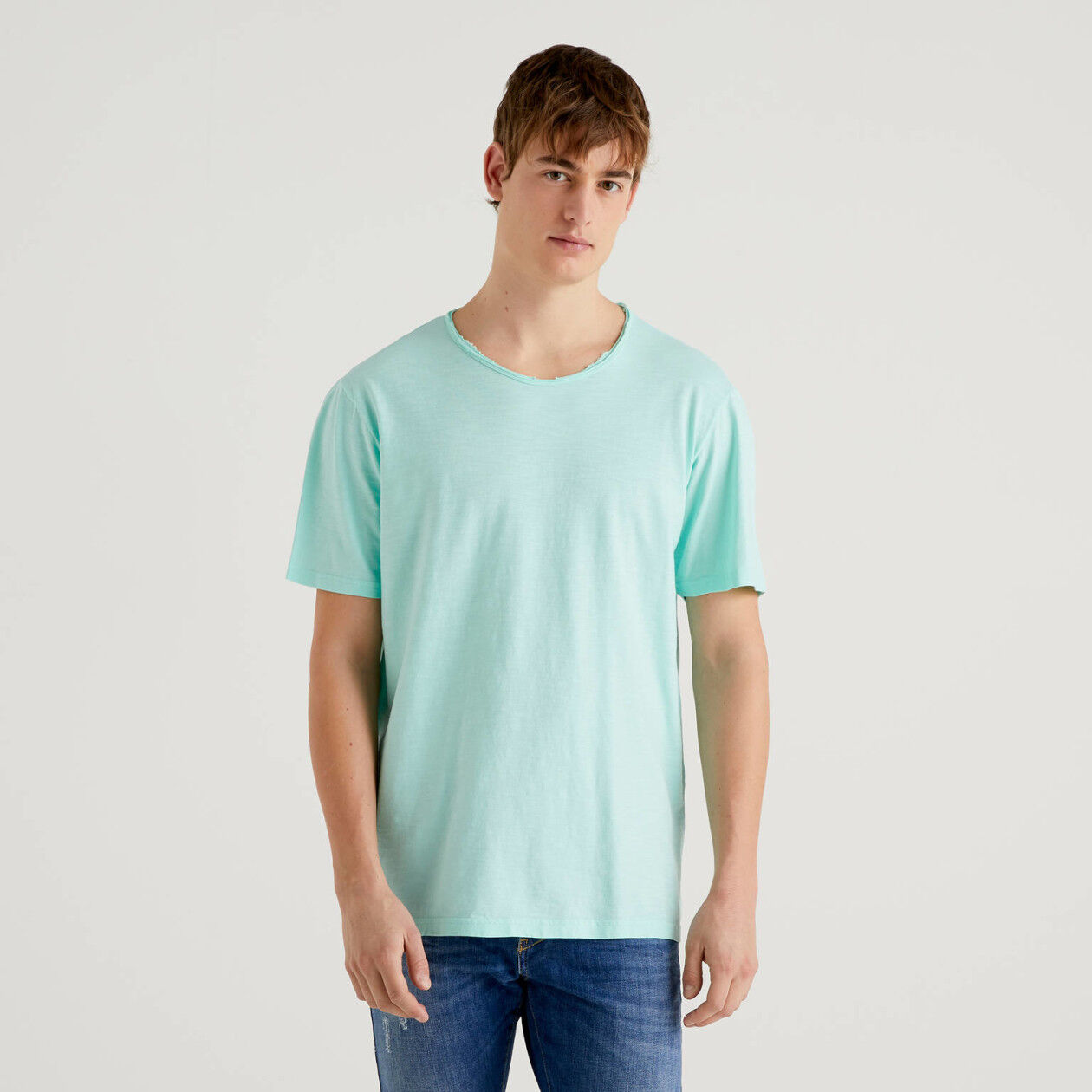 Teal t-shirt in pure cotton