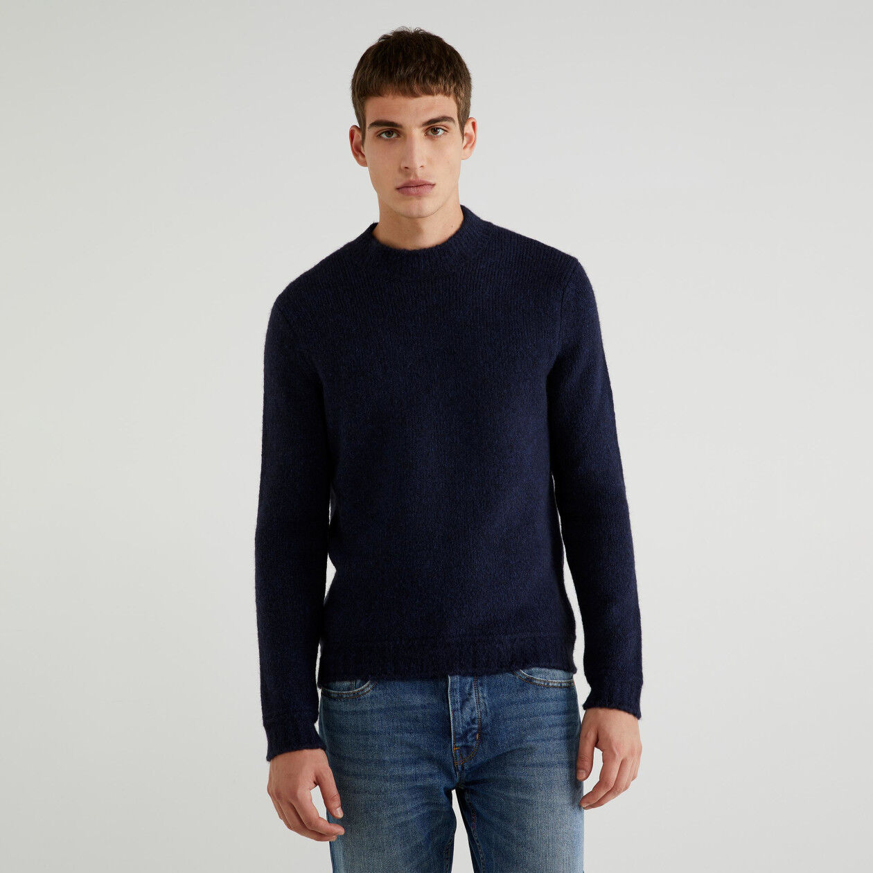 Sweater in cotton and wool
